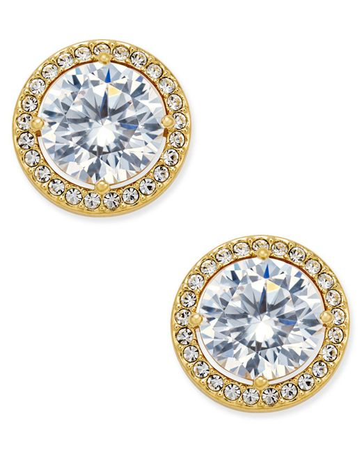 Danori - Metallic Gold-tone Cubic Zirconia Framed Stud Earrings - Lyst