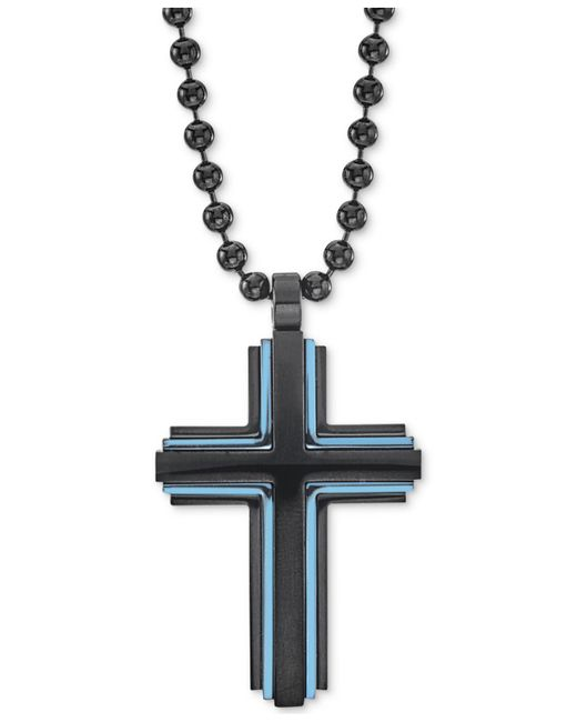 """Macy's - Two-tone Beaded Cross 22"""" Pendant Necklace In Matte Black & Blue Ion-plated Stainless Steel for Men - Lyst"""