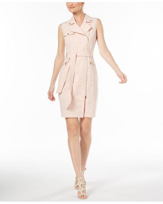 Calvin Klein - Pink Cross-dyed Lux Moto Dress - Lyst