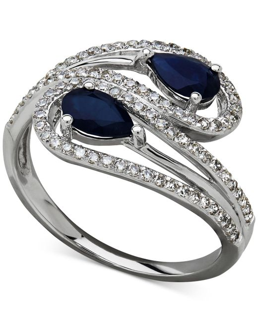 Macy's | Metallic Sapphire (1 Ct. T.w.) And Diamond (1/3 Ct. T.w.) Bypass Ring In 14k White Gold | Lyst