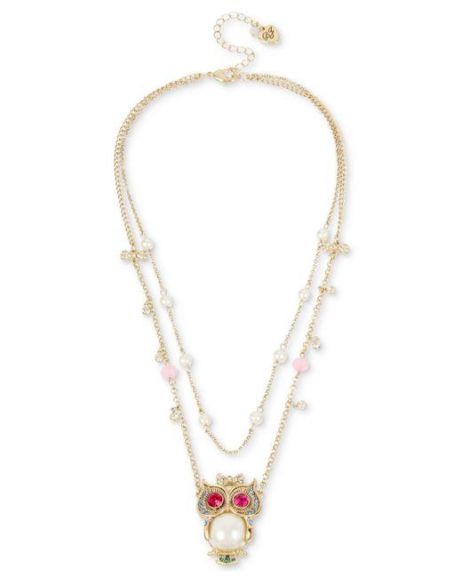 Betsey Johnson - Metallic Gold-tone Multi-stone & Imitation Pearl Owl Pendant Double-row Necklace - Lyst