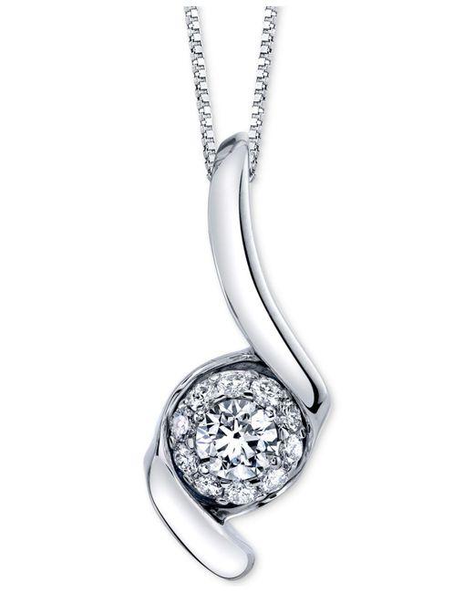 "Sirena - Metallic Diamond Halo Swirl 18"" Pendant Necklace (1 Ct. T.w.) In 14k White Gold - Lyst"