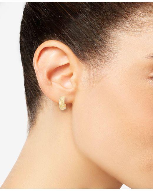Macy S Metallic Textured Wide Huggie Hoop Earrings Lyst