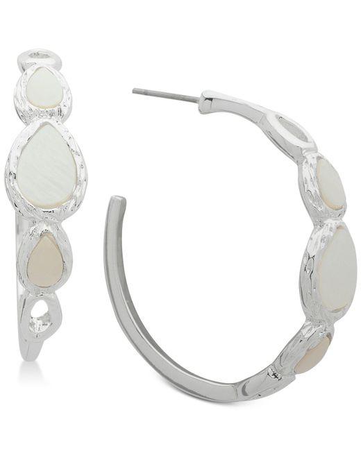 Nine West - Metallic Silver-tone Imitation Mother-of-pearl Hoop Earrings - Lyst