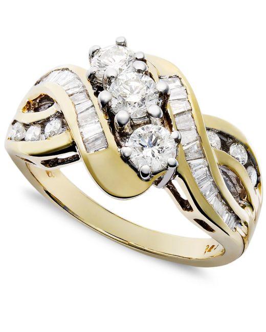 Macy's | Metallic Three-stone Diamond Braid Ring In 14k Yellow Or White Gold (1 Ct. T.w.) | Lyst