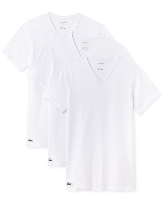 Lacoste | White Men's 3-pk. Cotton V-neck Undershirts for Men | Lyst