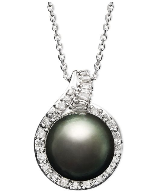Macy's | Multicolor 14k White Gold Necklace, Cultured Tahitian Pearl (12mm) And Diamond (1/2 Ct. T.w.) Pendant | Lyst