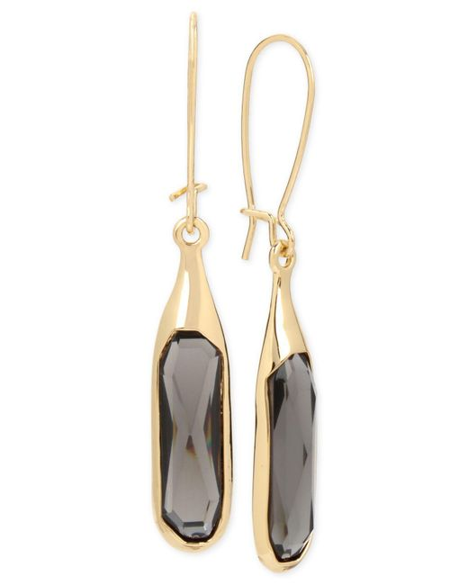Robert Lee Morris - Metallic Gold-tone Jet Stone Sculptural Drop Earrings - Lyst