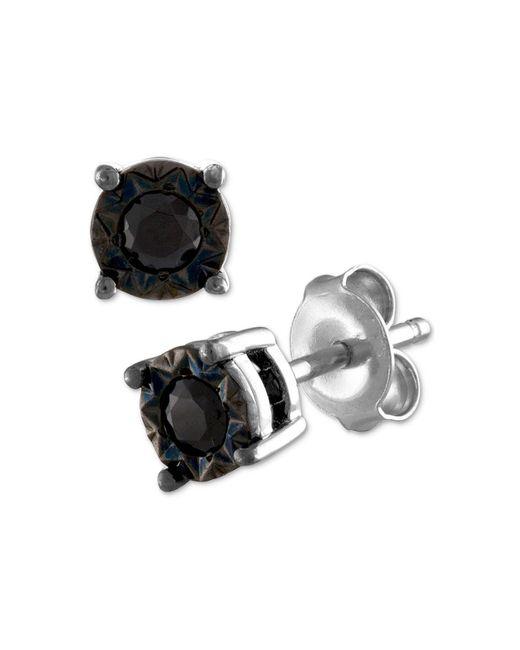 Macy's - Metallic Black Diamond Stud Earrings (1/4 Ct. T.w.) In Sterling Silver - Lyst