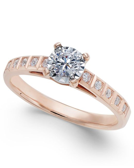 Macy's - Metallic Diamond Miracle-plate Engagement Ring (3/8 Ct. T.w.) In 14k Rose Gold - Lyst