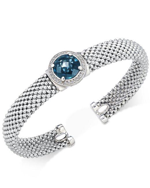 Macy's - Blue Topaz (4-1/4 Ct. T.w.) And Diamond (1/5 Ct. T.w.) Popcorn Mesh Cuff Bracelet In Sterling Silver - Lyst
