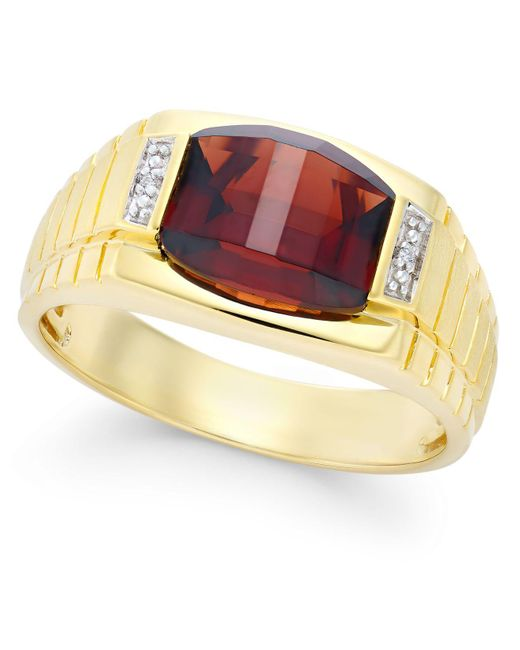 Macy's - Metallic Men's Garnet (4-1/3 Ct. T.w.) And Diamond Accent Ring In 10k Gold - Lyst