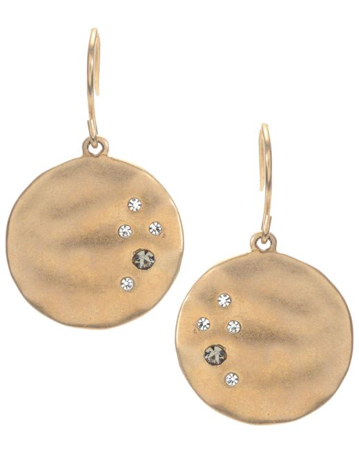 Kenneth Cole | Metallic Earrings, Gold-tone Crystal Circle Drop | Lyst