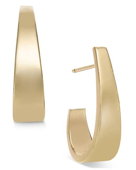 Macy's | Metallic Polished J-hoop Earrings In 10k Gold | Lyst