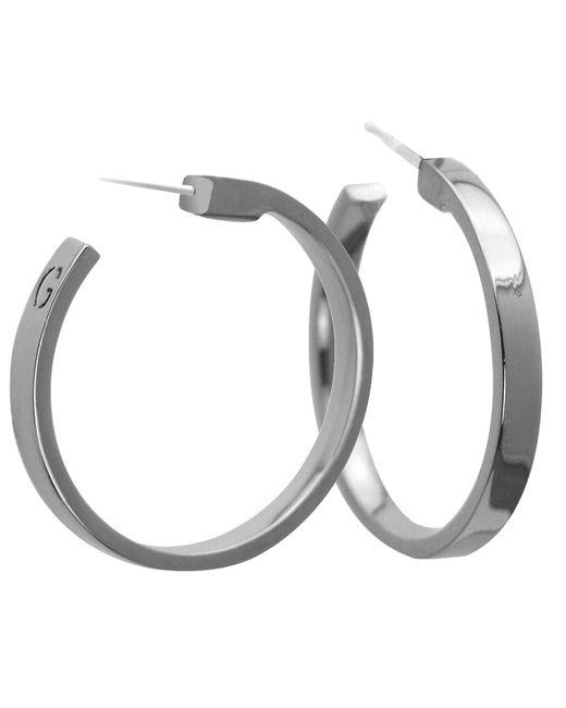 Guess   Metallic Earrings, Silver-tone Large Hoop   Lyst