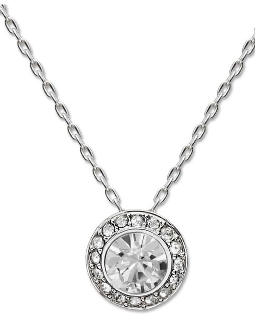 Swarovski | Metallic Necklace, Silver-tone Crystal Circle Pendant | Lyst
