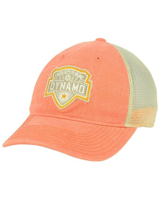 more photos 7d4e3 4d133 ... spain adidas orange houston dynamo bleached trucker cap lyst 071ec 8bf3a