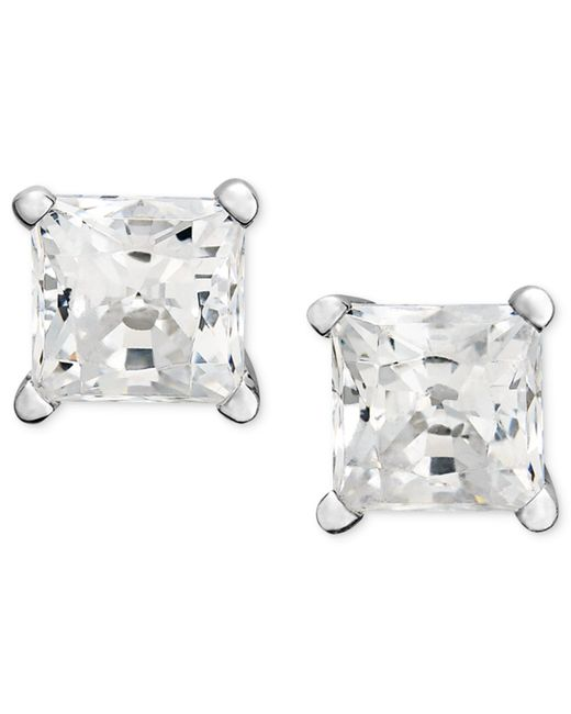 Macy's | Metallic Princess-cut Diamond Stud Earrings In 14k White Gold (3/4 Ct. T.w.) | Lyst