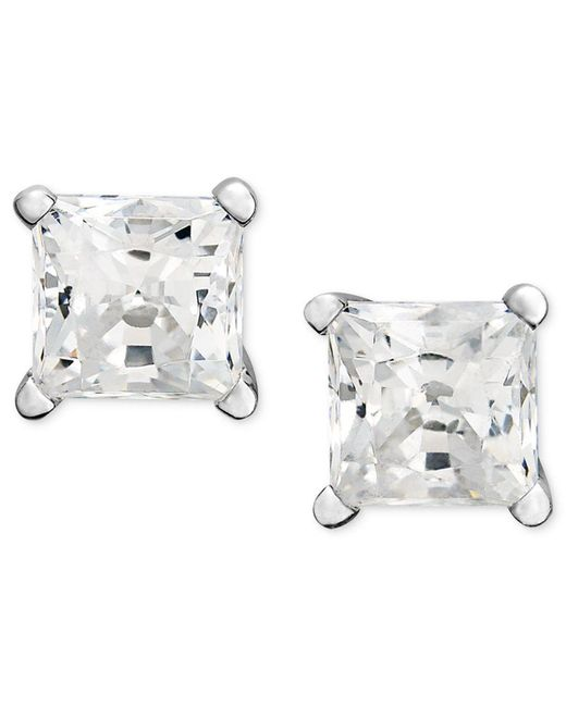 Macy's | Metallic Diamond Earrings, 14k White Gold Princess Cut Diamond Studs (1 Ct. T.w.) | Lyst