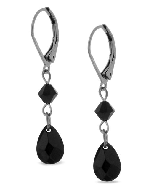 2028 | Black Earrings, Hematite Tone Jet Double Drop | Lyst