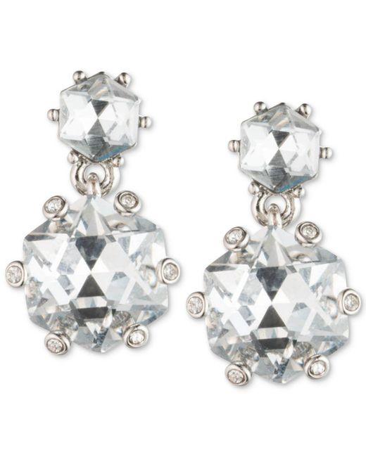 Carolee | White Silver-tone Double Crystal Drop Earrings | Lyst