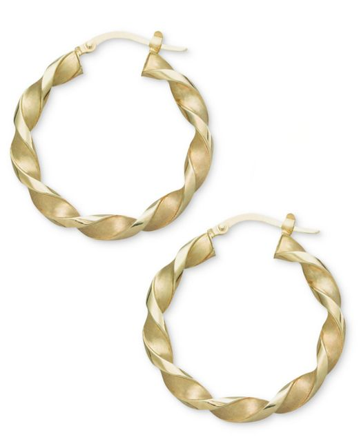 Macy's | Metallic 14k Gold Earrings, Small Twisted Hoop Earrings | Lyst