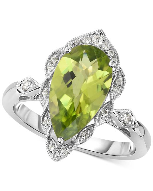 Macy's - Metallic Peridot (3-1/5 Ct. T.w.) & Diamond (1/10 Ct. T.w.) Ring In 14k White Gold - Lyst