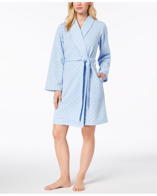 Charter Club - Blue Short Sweatshirt Robe, Created For Macy's - Lyst