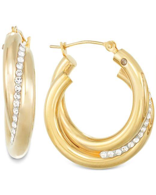Signature Gold - Metallic Crystal Interlocked Hoop Earrings In 14k Gold - Lyst