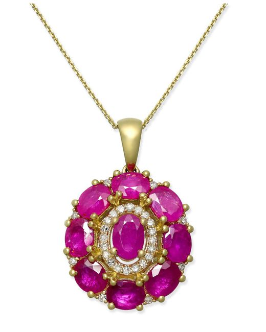 Macy's - Red Certified Ruby (4 Ct. T.w.) & Diamond (1/8 Ct. T.w.) Pendant Necklace In 14k Gold - Lyst