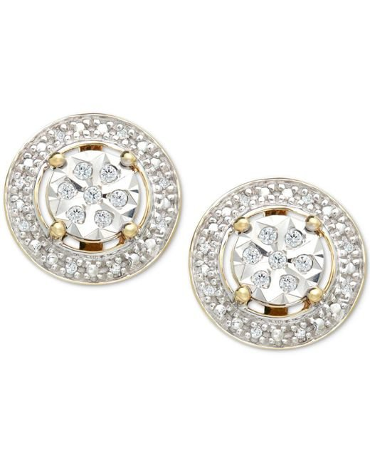 Macy's - Metallic Diamond (1/10 Ct. T.w.) Halo Stud Earrings In 10k Gold - Lyst