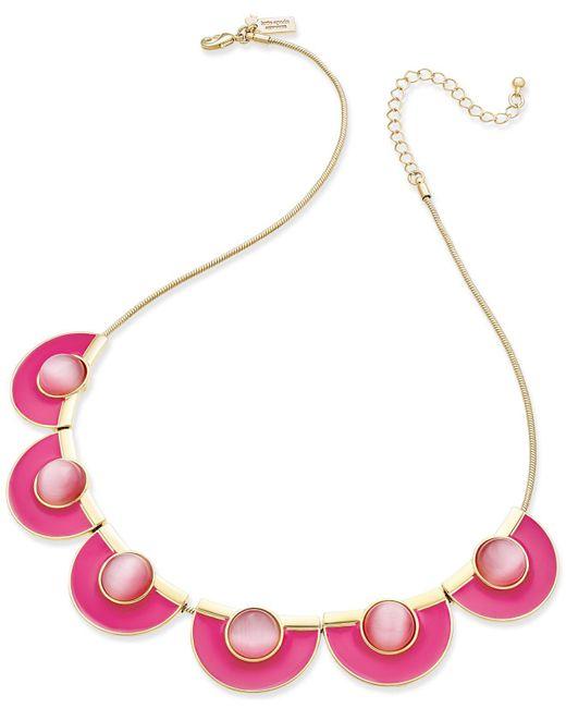 Kate Spade | Metallic Gold-tone Cat's Eye Stone Pink Enamel Necklace | Lyst
