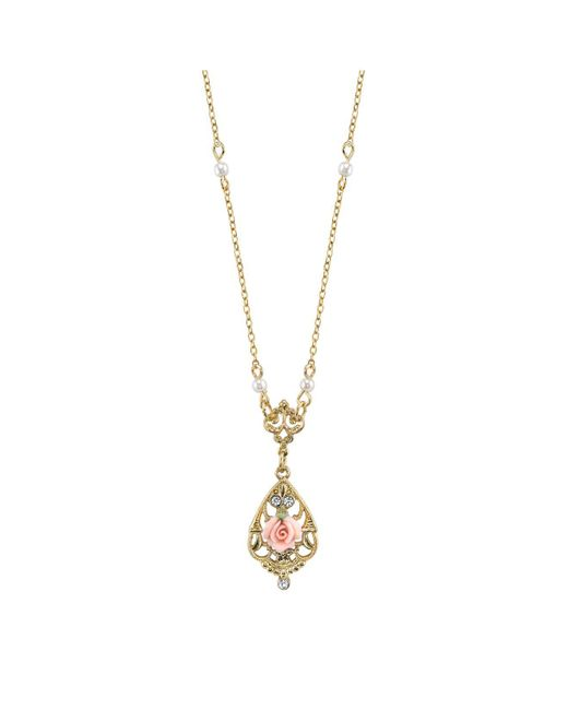 """2028 - Metallic Gold-tone Crystal And Pink Porcelain Rose Simulated Pearl Necklace 17"""" - Lyst"""