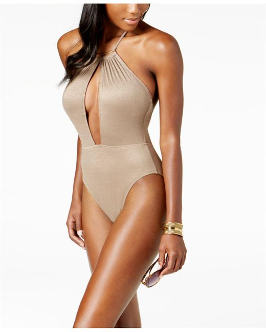 Kenneth Cole - Brown Metallic Tummy-control Halter One-piece High-leg Swimsuit - Lyst