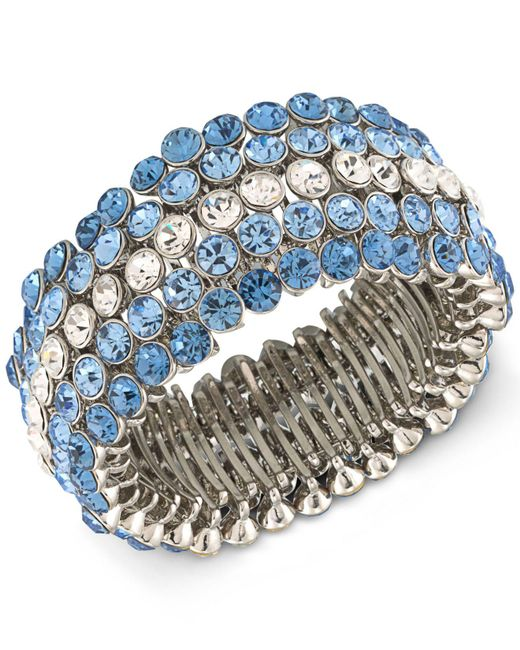 Carolee | Silver-tone Blue & Clear Crystal Stretch Bracelet | Lyst