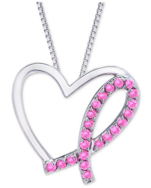 Macy's - Pink Sapphire Breast Cancer Awareness Pendant Necklace (3/8 Ct. T.w.) In Sterling Silver - Lyst