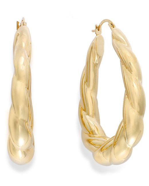 Signature Gold - Metallic Ribbed Oval Hoop Earrings In 14k Gold - Lyst
