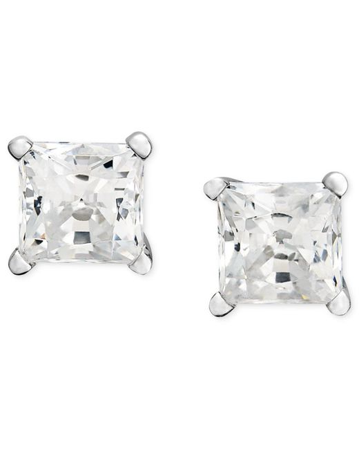 Macy's | Metallic Princess-cut Diamond Stud Earrings In 14k White Gold (1/3 Ct. T.w.) | Lyst