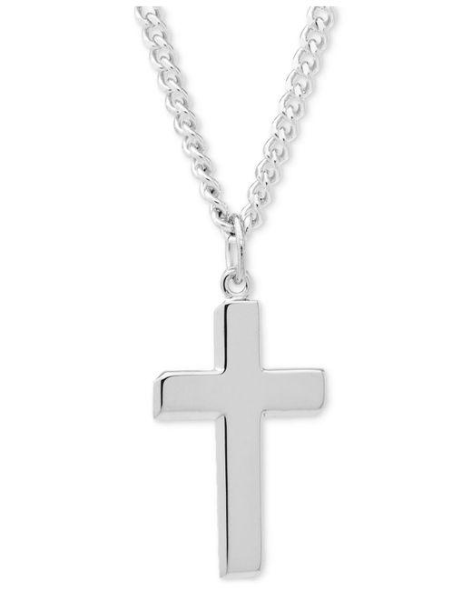Macy's - Metallic Simple Cross Pendant Necklace In Sterling Silver - Lyst