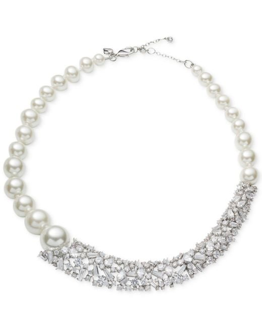 Carolee - White Silver-tone Crystal & Imitation Pearl Collar Necklace - Lyst