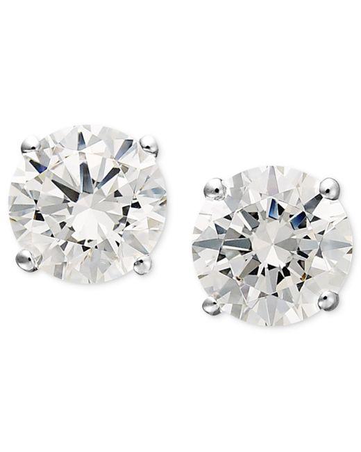 Arabella | Metallic 14k White Gold Earrings, Swarovski Zirconia Round Stud Earrings (1-3/4 Ct. T.w.) | Lyst