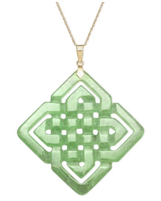 Macy's | Metallic 14k Gold Necklace, Jade Large Cutout Weave Pendant | Lyst