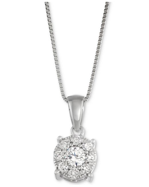 Macy's - Metallic Diamond Unity Pendant Necklace (1/3 Ct. T.w.) In 14k White Gold - Lyst