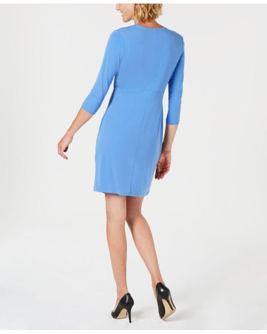 Lyst Charter Club Petite Faux Wrap Dress Created For Macys In Blue