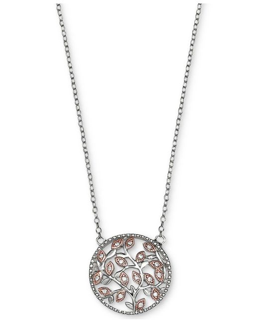 Giani Bernini - Metallic Cubic Zirconia Vine Pendant Necklace In Sterling Silver And 18k Rose Gold-plate - Lyst