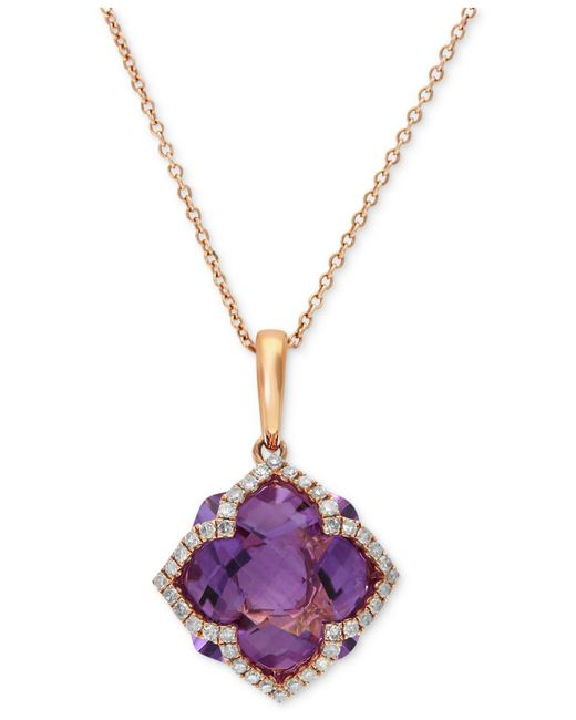 Effy Collection | Purple Amethyst (5-3/4 Ct. T.w.) And Diamond (1/5 Ct. T.w.) Clover Pendant In 14k Rose Gold | Lyst