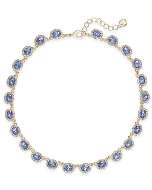 Charter Club - Blue Silver-tone Pavé & Pink Stone Collar Necklace - Lyst