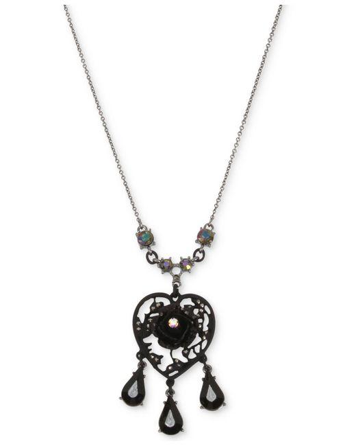 Betsey Johnson - Black Hematite-tone Filigree Heart Flower & Jet Stone Pendant Necklace - Lyst