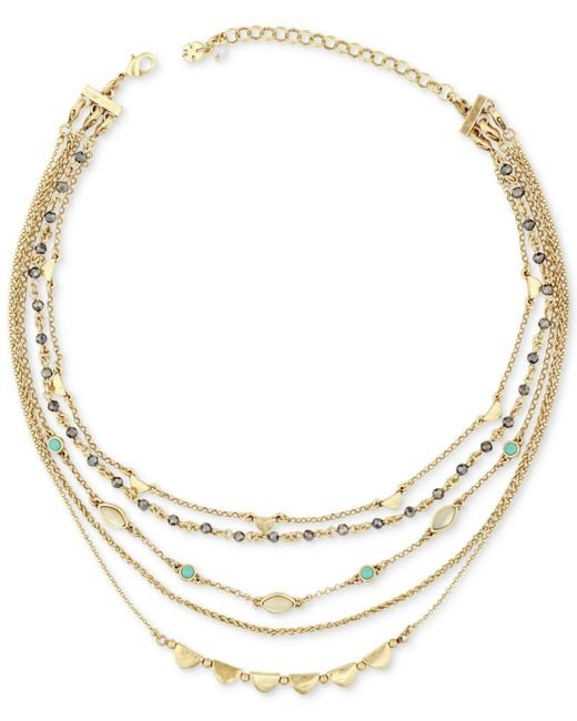 Lucky Brand - Metallic Gold-tone Stone & Bead Multi-layer Necklace - Lyst