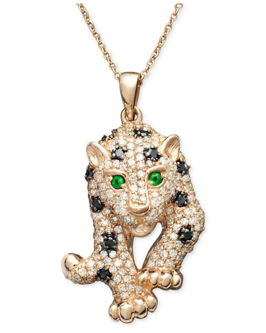 Effy Collection - Metallic Black And White Diamond (3/4 Ct. T.w.) And Multistone Panther Pendant Necklace In 14k Rose Gold - Lyst